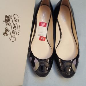 Patent leather Coach flats
